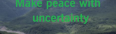 Make peace with uncertainty