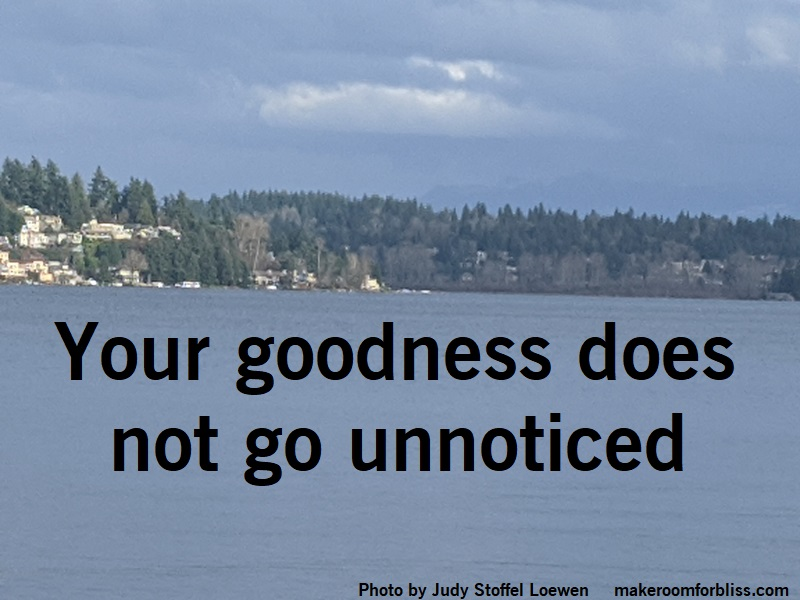 Your Goodness Does Not Go Unnoticed Without being seen or noticed: www makeroomforbliss com